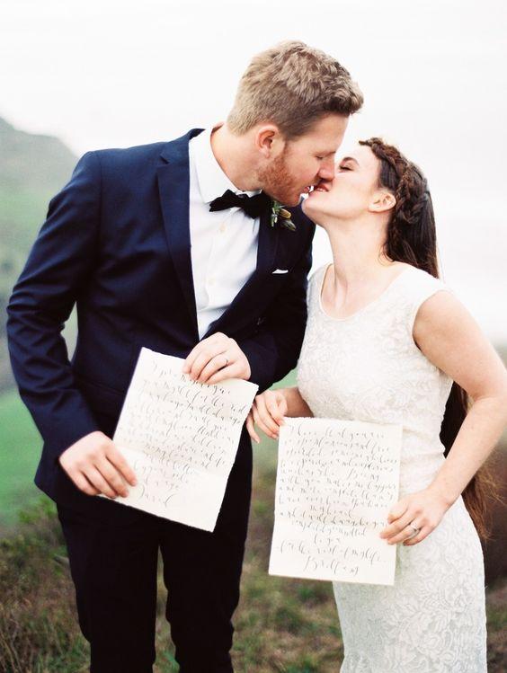 Writing your own destination wedding vows.