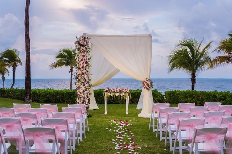 Wedding ceremony setup at Riu Palace Costa Mujeres in Mexico