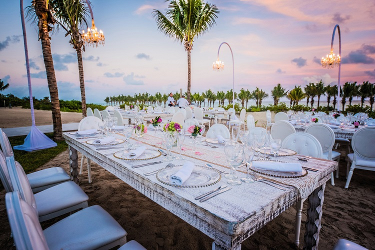 Wedding reception setup at Riu Palace Costa Mujeres in Mexico