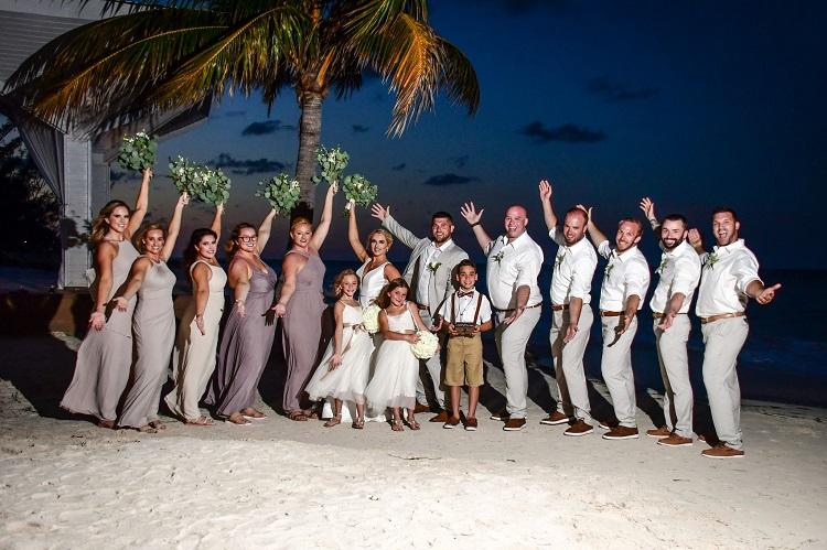 destination wedding party on beach