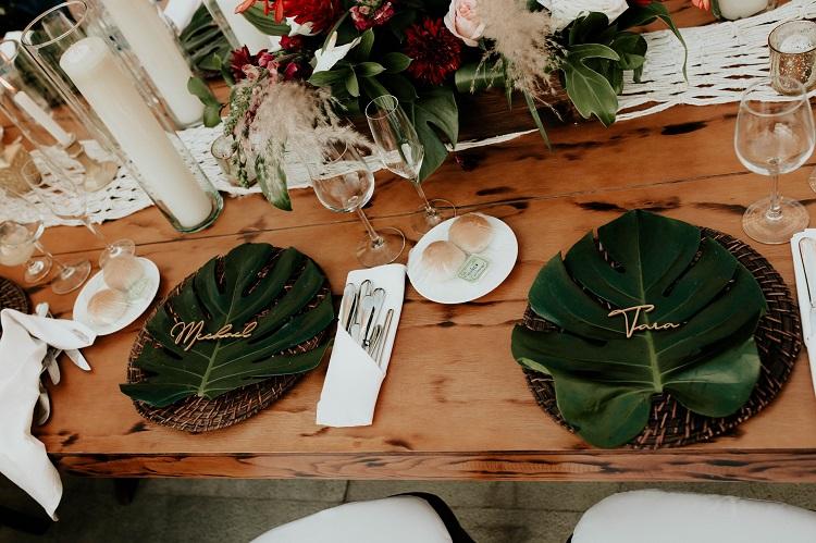 destination wedding reception table setting