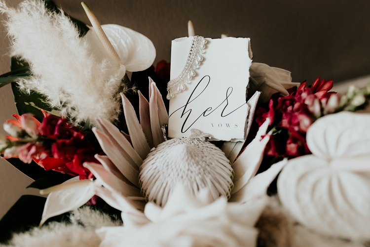 wedding vows and bouquet