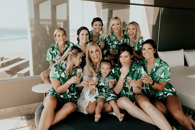 bridesmaids in tropical robes